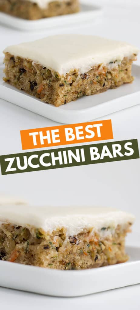 collage of zucchini bars on white dessert plate with text in the middle