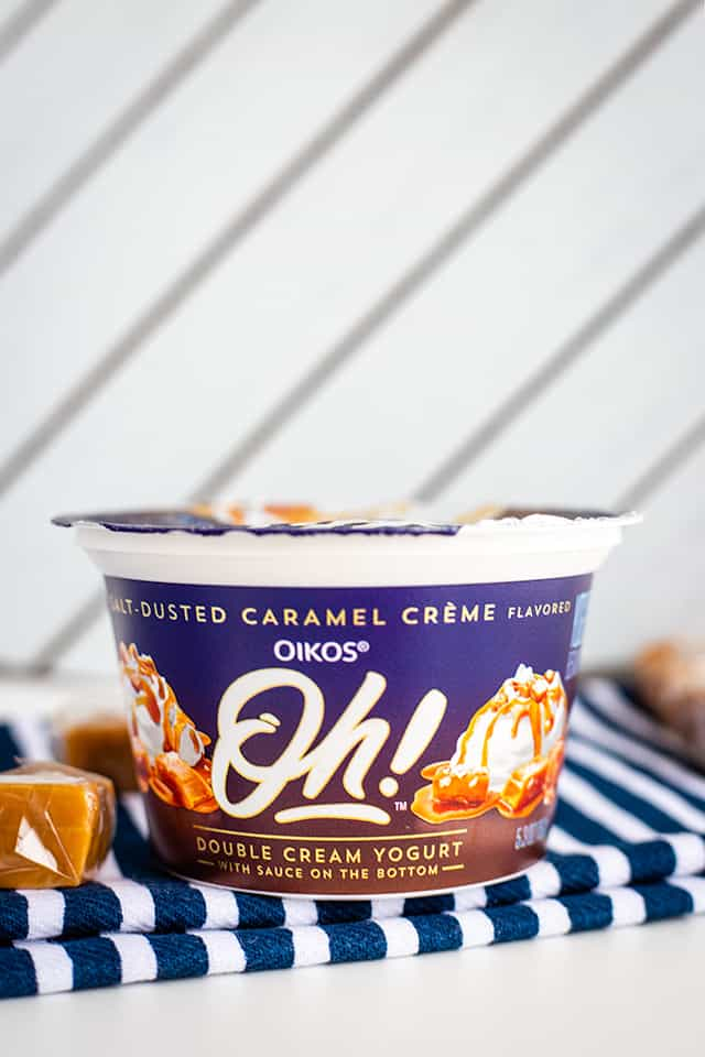 yogurt with pieces of caramel