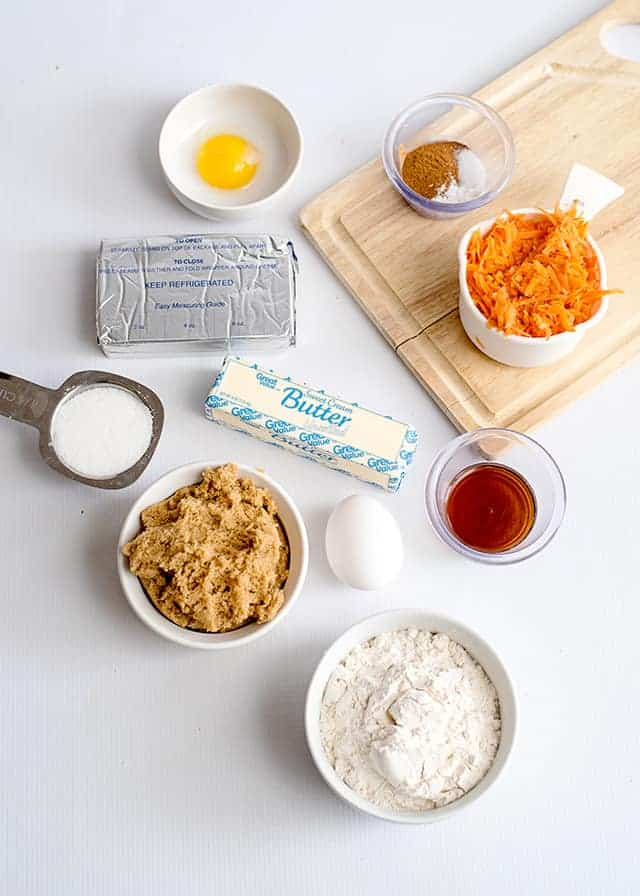 ingredients for carrot cake bars