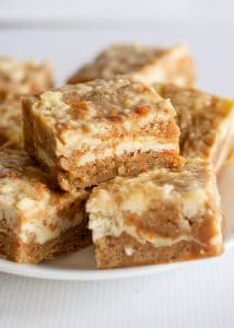 carrot cake bars stacked