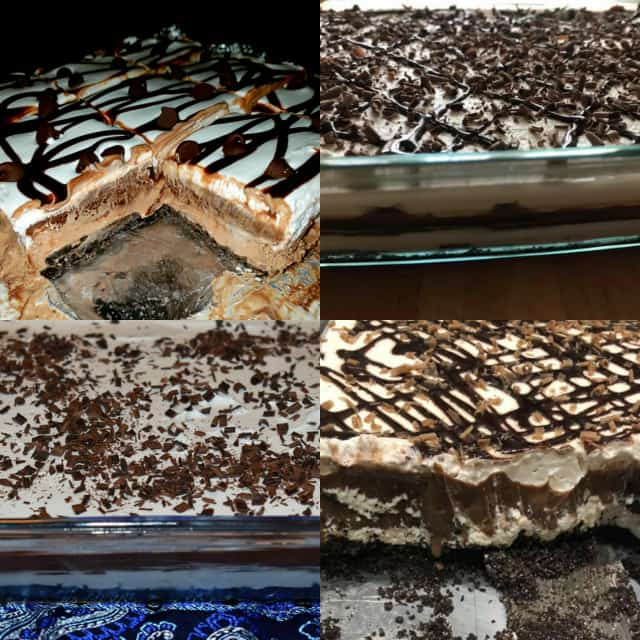 collage of chocolate lasagna recipes from the May Baking Challenge