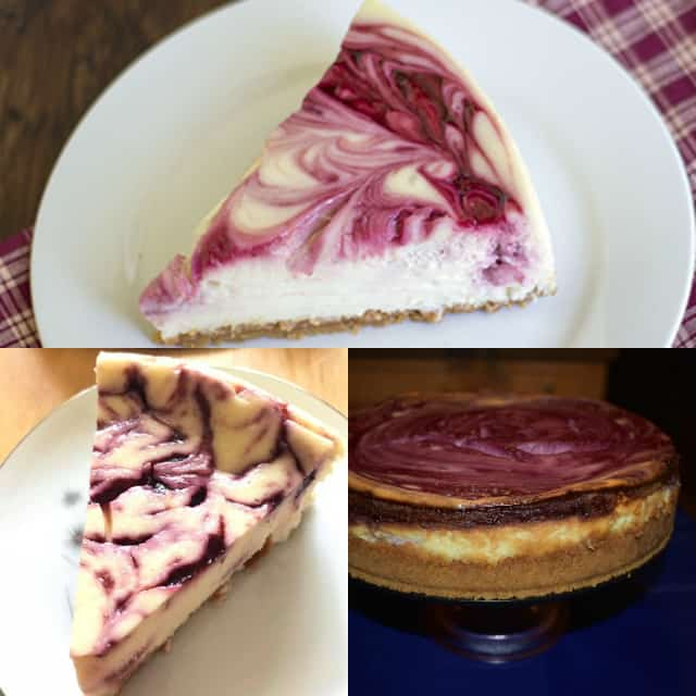 collage of photos of the blackberry cheesecake recipe