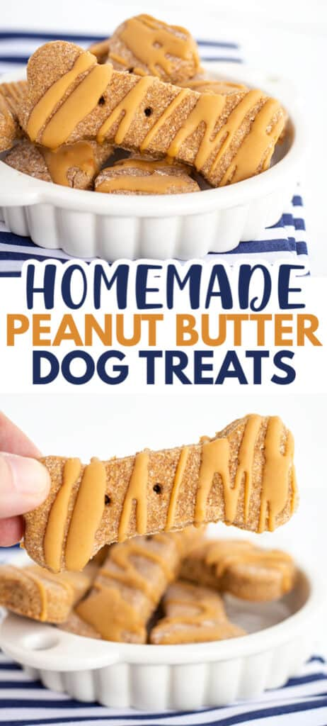 collage of pup treats in a white dish with text in the middle