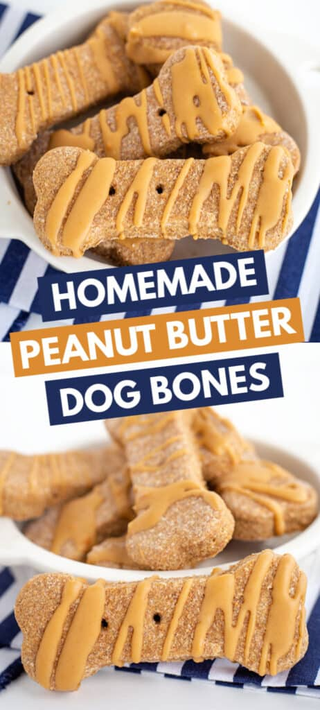 collage of photos showing the peanut butter dog treats with recipe in block text