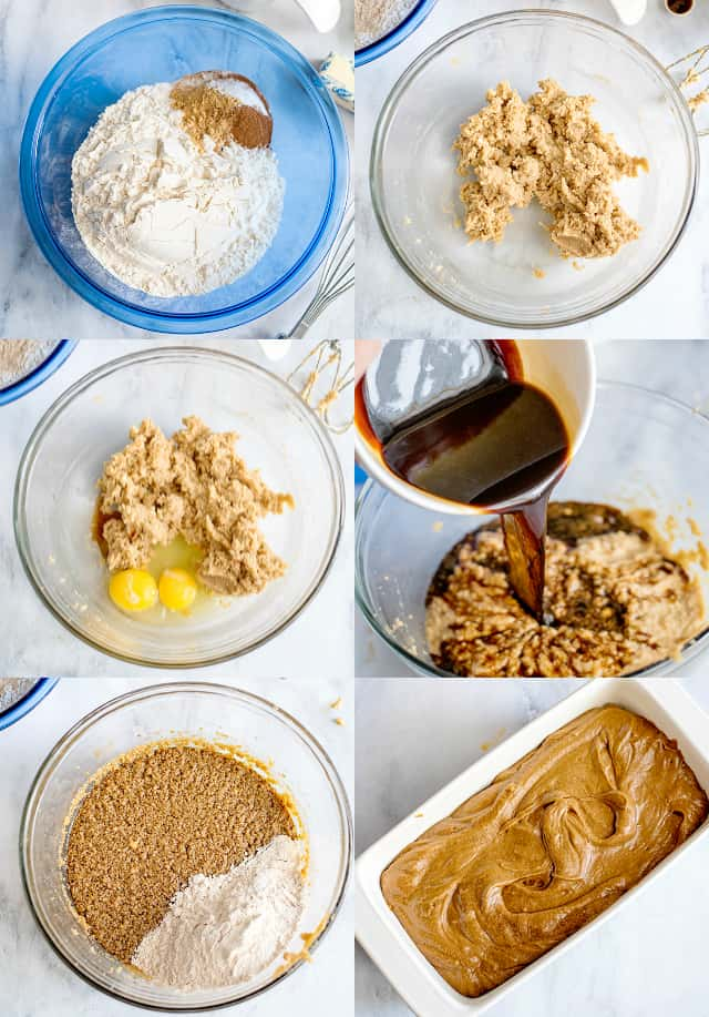 step-by-step directions for gingerbread loaf in collage