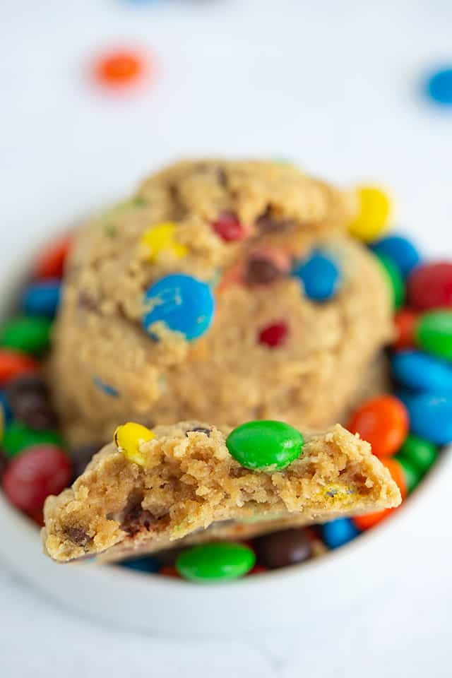 Monster cookie broke in half with M&M's