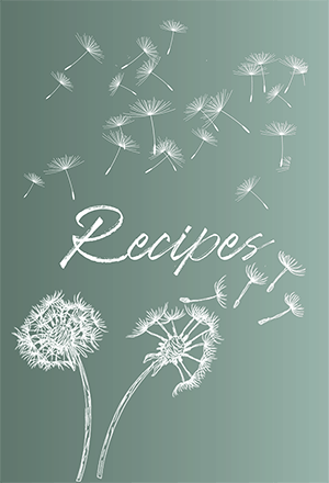 Green and white Dandelion Blank Recipe Book Cover