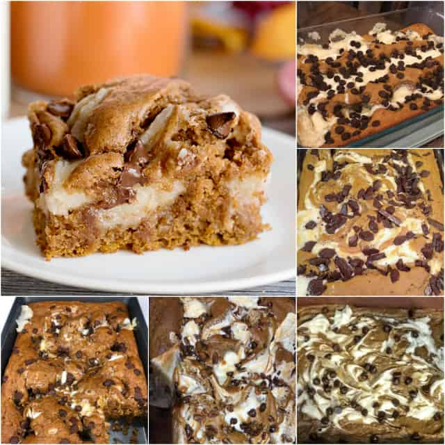 collage of pumpkin earthquake cake for baking challenge