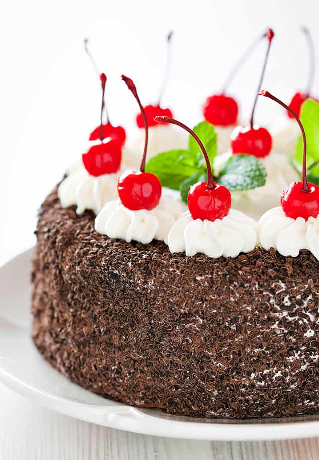 black forest cake on a white plate