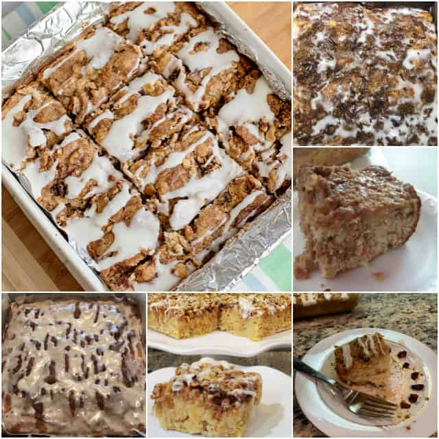 collage of apple fritter cake