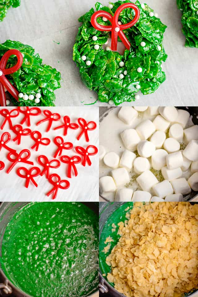 Collage on step-by-step how to make Christmas Wreath Cookies
