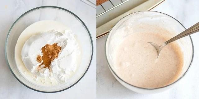 step-by-step how to make cinnamon glaze