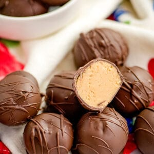 peanut butter balls on a red, white, and blue linen