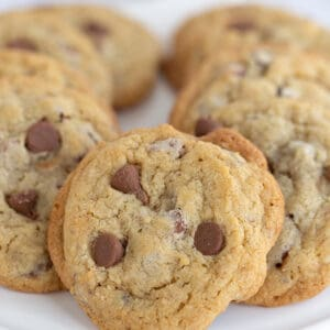 close up of chocolate chip cookies on platter