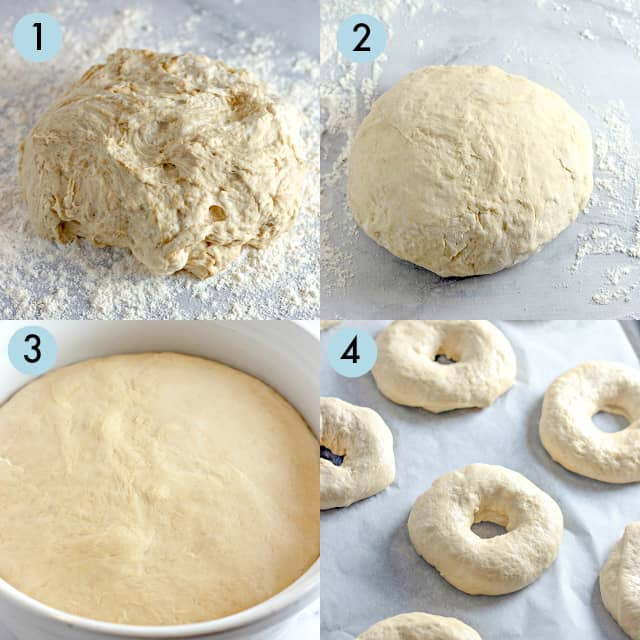 collage of making the bagel dough
