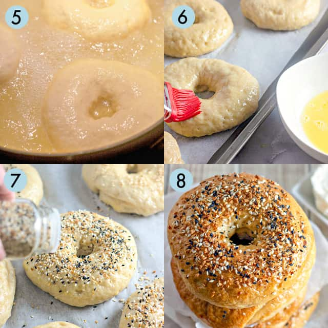 collage of photos preparing and baking bagels