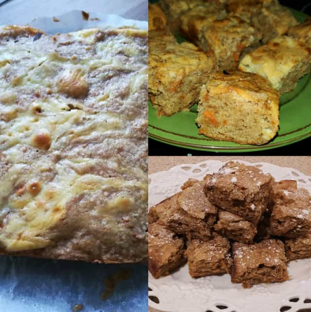collage of carrot cake bars for the monthly baking challenge