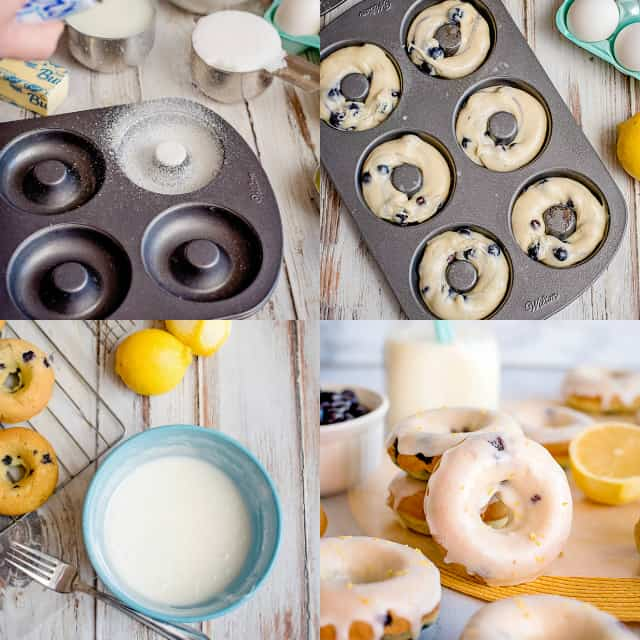 college of step-by-step photos on prepping the pan, filling the pan, and glazing the donuts