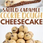 pinterest collage photo of two cheesecakes with text in the middle