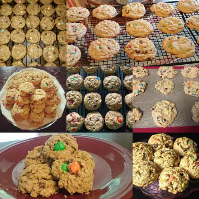 collage of photos featuring a monster cookie for a baking challenge