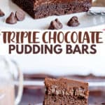 two photos showcasing the chocolate pudding bars on a white plate with text in the middle