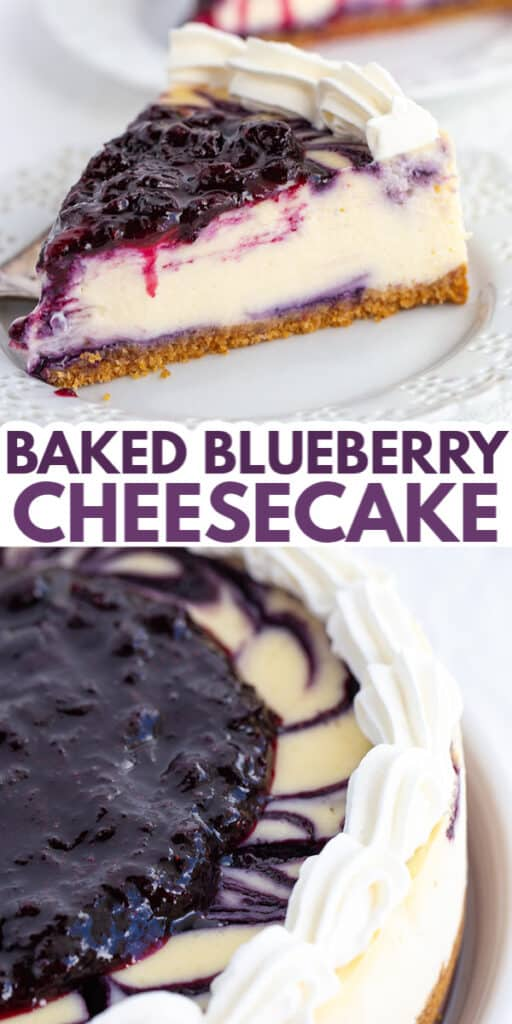 collage of blueberry cheesecake images and the title in text between images
