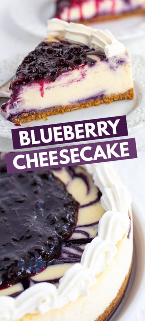 collage of blueberry cheesecake images with the title in blocks of text in the middle