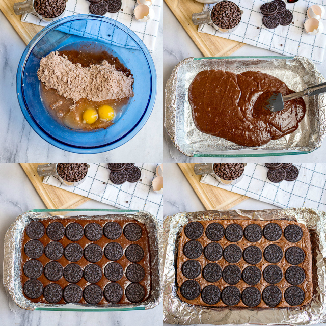 collage of photos showing step-by-step how to make the oreo brownie