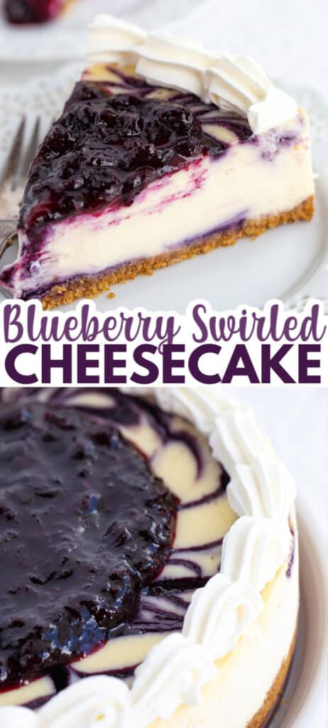 pinterest collage of blueberry cheesecake with text in the middle for the title