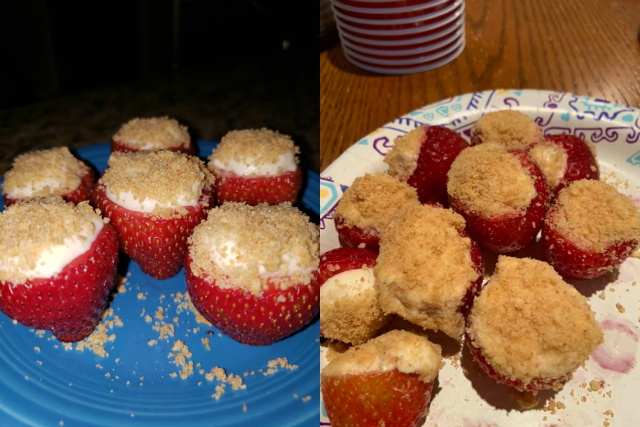 two photos of cheesecake stuffed strawberries on plates that readers made