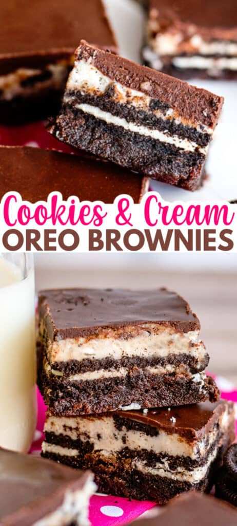 collage of brownie photos with the recipe name in text in the center