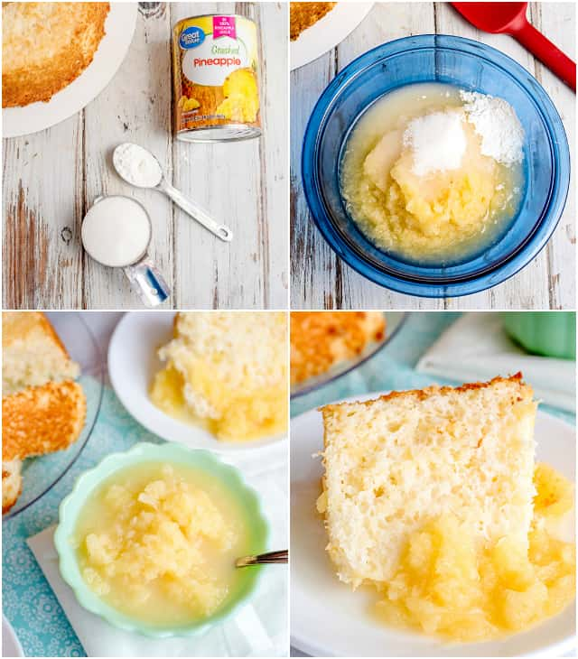 collage of step-by-step photos showing how to make pineapple sauce
