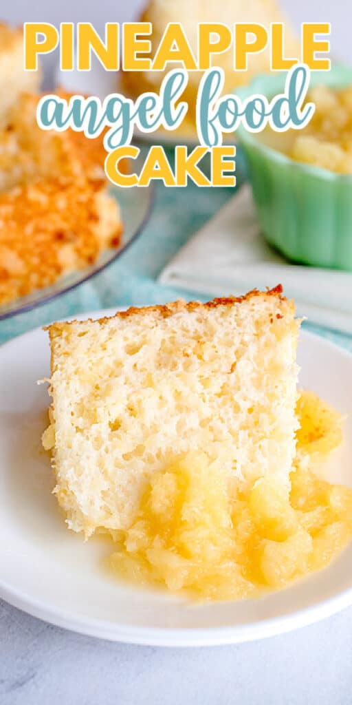 close up of cake on a white plate with the title of recipe in text at the top for pinterest