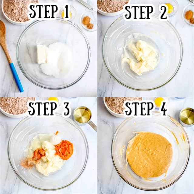collage of step-by-step photos adding the ingredients for the pumpkin cheesecake swirl in to a glass bowl