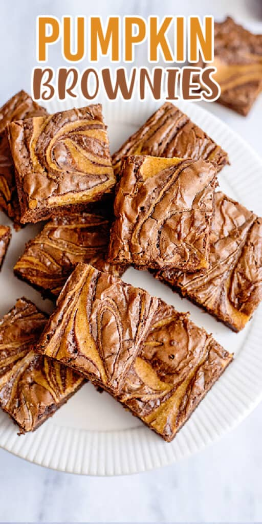 overhead photo of brownies showing swirl with name in text at the top