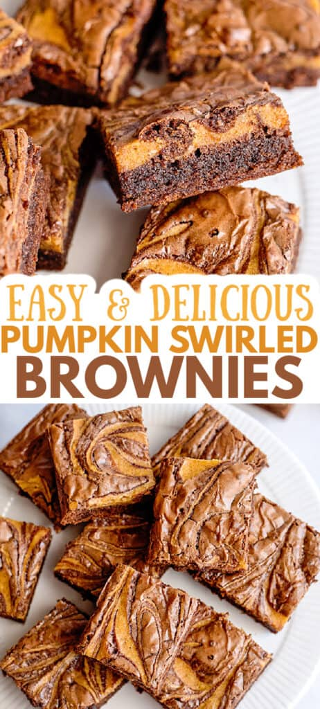 collage of photos for pinterest of pumpkin swirled brownies showing the side of the brownie in top photo and the tops in bottom photo with descriptive text in between