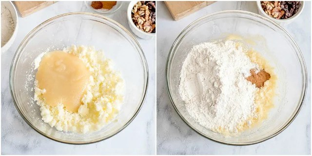 collage of adding ingredients to a glass bowl for the cake