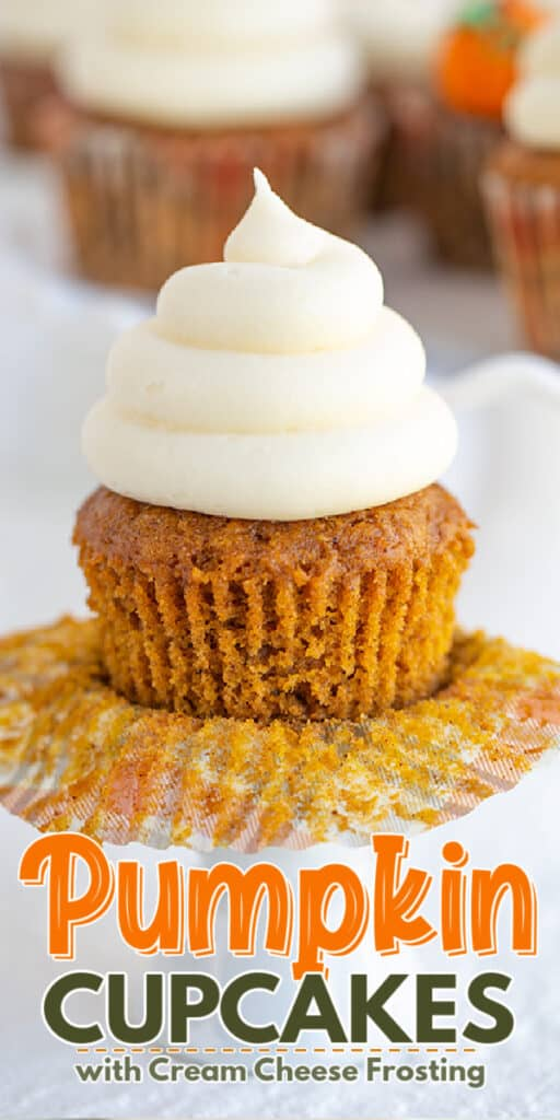 Pinterest image of an unwrapped pumpkin cupcake on a cupcake stand with the name in text at the bottom