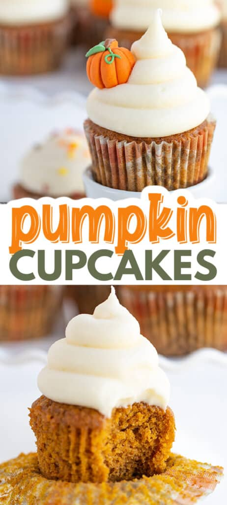 collage of pumpkin cupcake images one with a bite taken out with the name in text in the center