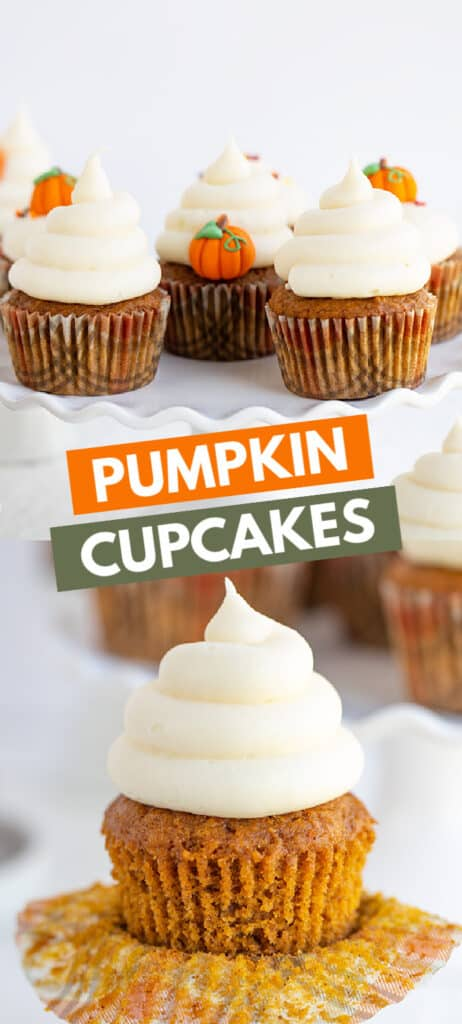 collage of two images of pumpkin cupcakes one on a cake plate the other unwrapped with boxes of text in the middle