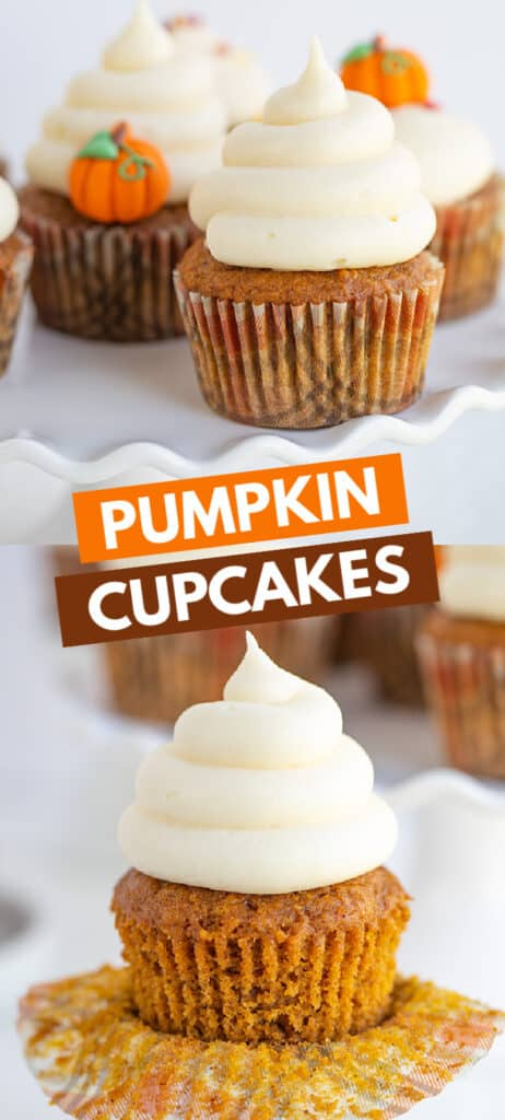 collage of images showing the pumpkin cupcakes with a box of text in the middle
