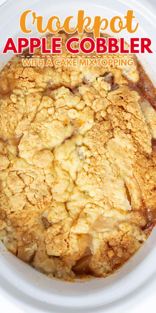 closeup photo of apple cobbler in a white crockpot with text at the top of photo