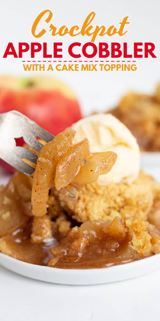 close up of apple cobbler with apples on a fork with text at the top of photo