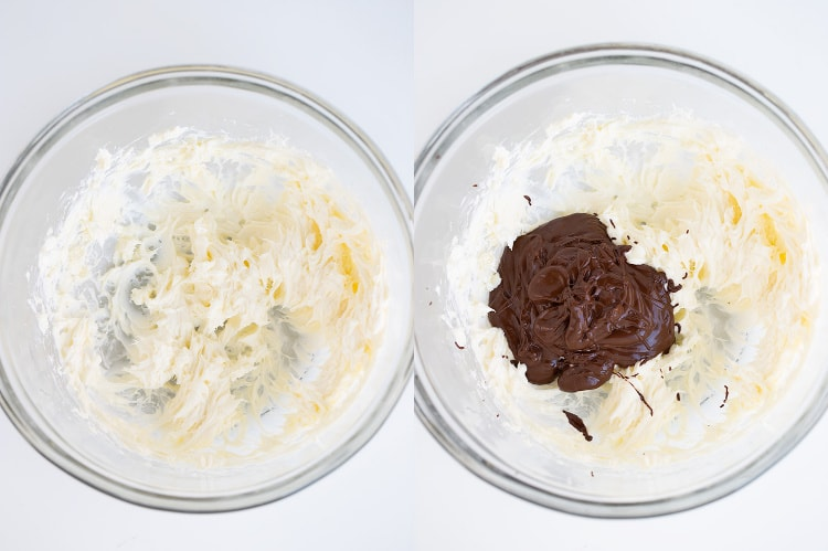 collage of a bowl of cream cheese and butter and a second photo with chocolate adding to the bowl