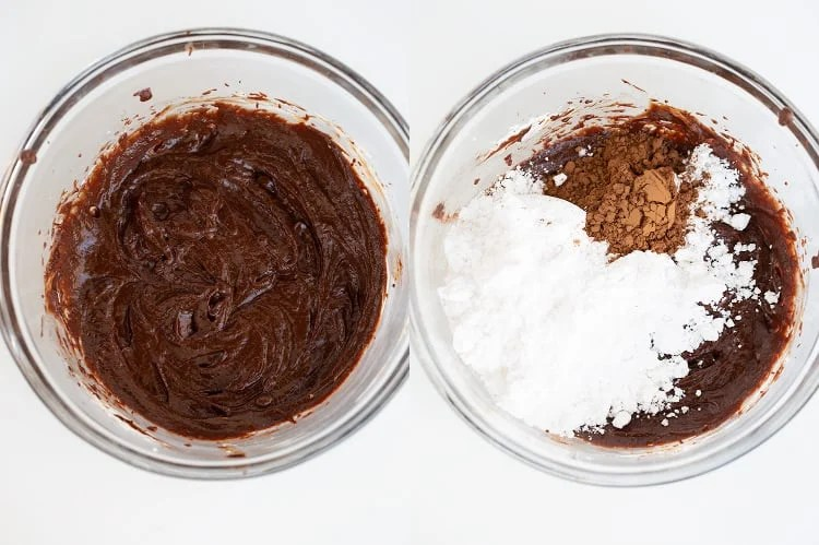 collage of photos showing the melted chocolate mixed into the bowl and the photo has a bowl with powdered sugar, cocoa powder and milk added to the chocolate mixture