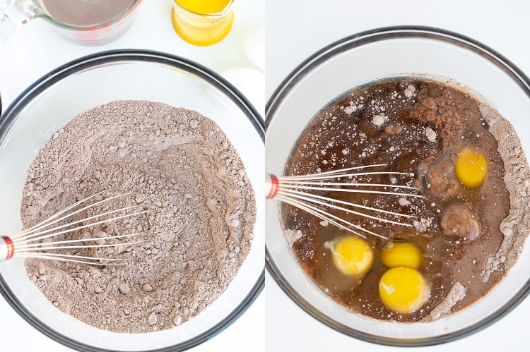 collage of a photo with cake mix and pudding mix in a glass bowl and second photo with eggs, oil, and milk adding to the bowl