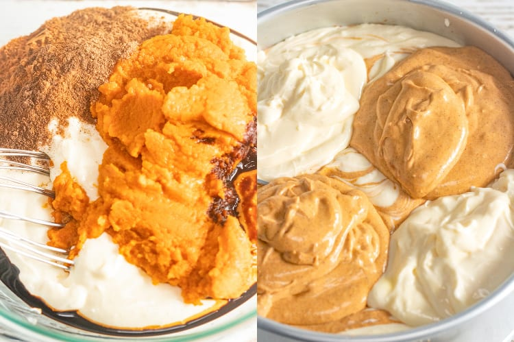 collage of two photos with pumpkin ingredients in a glass bowl and cheesecake batter adding to a springform pan