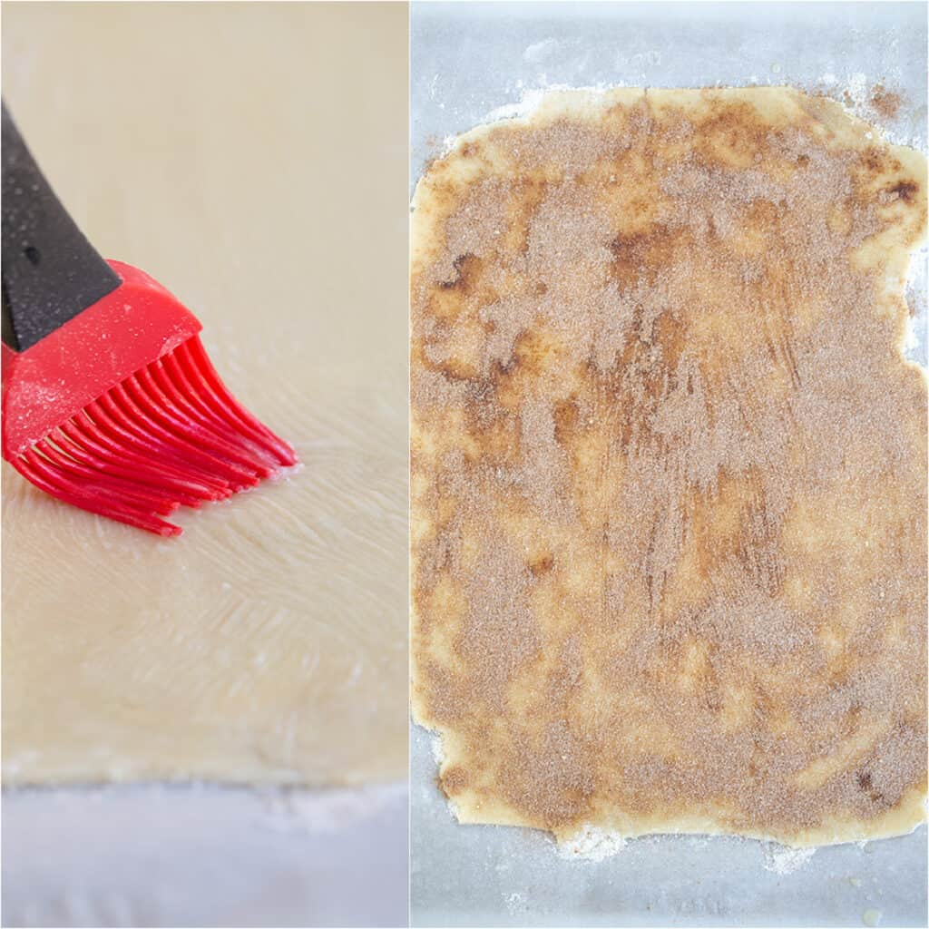 collage of photos brushing butter on crust and cinnamon sugar covered crust