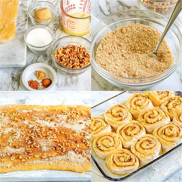 collage of photos showing how to make and add the cinnamon sugar filling to the cinnamon rolls