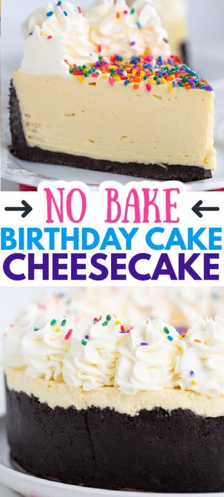 collage of photos of no bake birthday cheesecake with text in the center and arrows